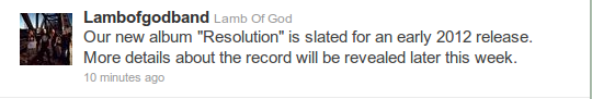 Lamb of god new album name Resolution 2012
