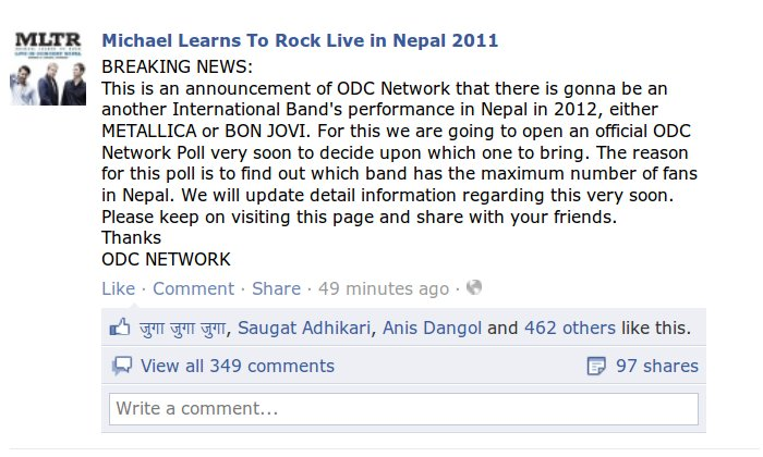 Metallica or Bonjovi Live  in Nepal reveal by ODC Network for 2012