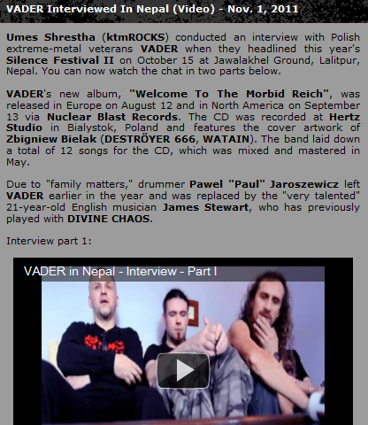 Vader Video Interview Featured on Blabbermouth and Bravewords