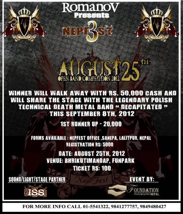 Nepfest 3 August – Open Band Competition 2012