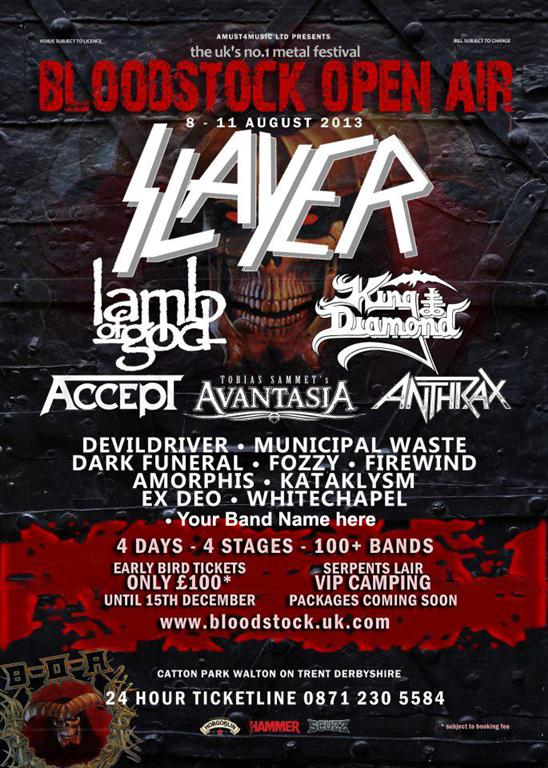 Win a chance to play in Bloodstock Festival 2013 UK alongside Lamb of God, Antrax, Slayer and many more!!