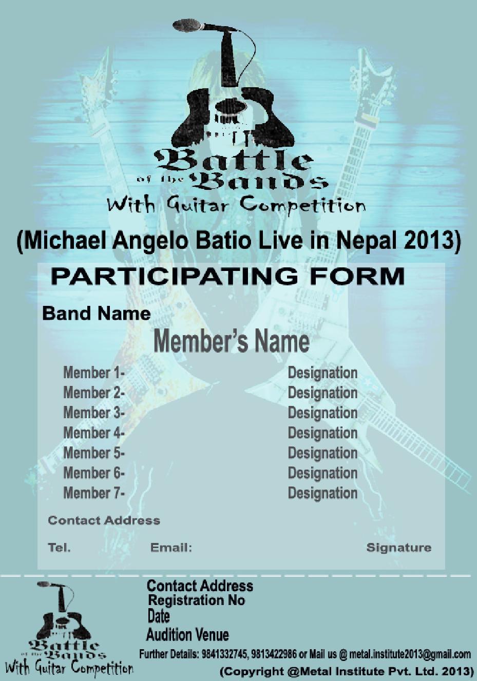 Battle of Band Form Download - Nepal Underground